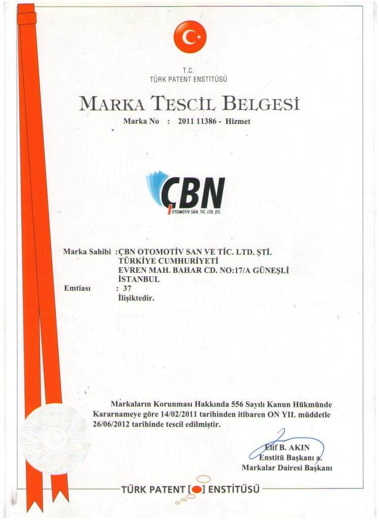 ÇBN Marka Tescil Belgesi